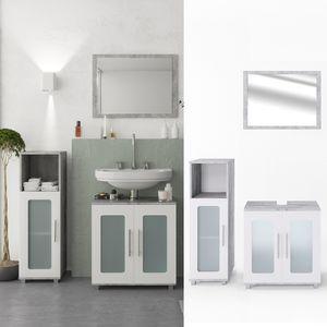 Badmöbel Set RAYK Grau Weiß - Badezimmer Spiegel Waschtisch Unterschrank Badschrank Midischrank