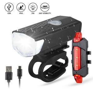 300 Lumen superhelles Fahrrad Nachtfahrlicht vorne USB wiederaufladbares Licht mit hoher Helligkeit, schwarzes Frontlicht + rotes Rücklicht LED-Front- und Rücklichtset