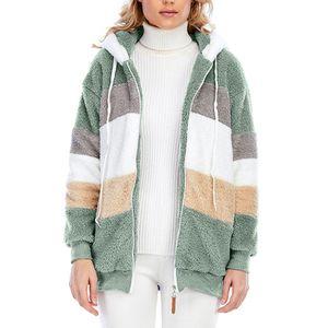 Damen Fleece Hoodie Jacke Lose Casual Top Zip Jacke,Farbe: Grün,Größe:4XL
