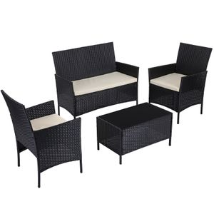 SONGMICS 4er Set Gartenmöbel aus Polyrattan | 2 Gartenstühle 1 Sofa 1 Gartentisch mit Hartglasplatte | 3 abnehmbare Kissen schwarz-beige GGF002B02