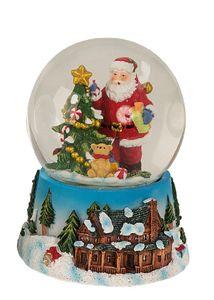 Weihnachtsmann Schneekugel  mit Weihnachtsbaum und Geschenken