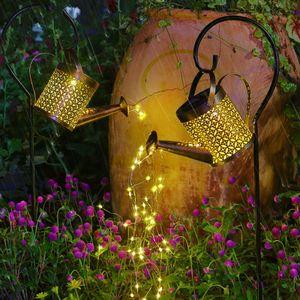 Gartendekoleuchten,Solar betriebene Garten Licht Wasserkocher Duschleuchte LED-Gießkanne Lichterkette Outdoor-Garten Kunst Lampen Dekoration