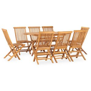 9-teiliges Outdoor-Essgarnitur Garten-Essgruppe Sitzgruppe Tisch + stuhl Klappbar Massivholz Teak