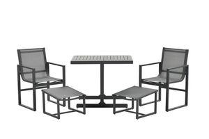 Garden Impressions Balkonset Alabama 5-teilig Aluminium Textilene carbon black