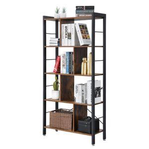 VASAGLE Bücherregale mit 4 Ebenen 154,5 x 74 x 30 cm einfacher Aufbau Metallrahmen im Industrie Design groß stabil Vintage LBC12BX