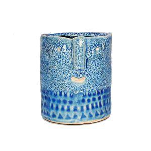 """Übertopf """"Zamora"""" für 8,5cm und 9cm Töpfe - mit aztekischem Gesicht und in verschiedenen Farben hellblau"""