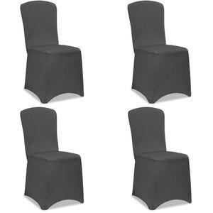 4x Stuhlhussen Stretch Stuhlbezug Universal Stuhl Bezug Hussen Set Weihnachten, Farbe:anthrazit