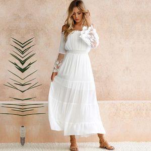 y Frauen Maxi Langes Kleid weg von der Schulter Lace Flare Sleeve elegante Abendgesellschaft Boho Kleid weiss (XL)
