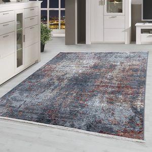 Kurzflor Wohnzimmerteppich Modernes Vintage Design Teppich Used Look Mehrfarbig, Farbe:Multi, Grösse:160x230 cm