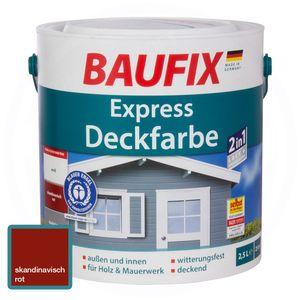 Baufix Express Deckfarbe Skandinavisch Rot Dunkelrot 2,5 L Matt Lack+Grundierung