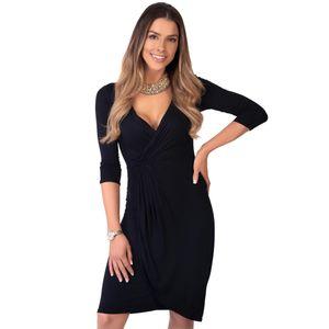 Krisp Damen Jersey-Kleid in Wickeloptik, mittlere Länge KP124 (46 DE) (Schwarz)