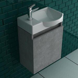 Alpenberger Waschplatz Keramikbecken I Unterschrank vormontiert Farbe Grau I Badezimmer Gäste WC Lösung Zeitlos