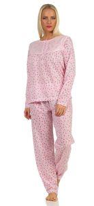 Damen Pyjama lang zweiteiliger Schlafanzug mit Muster, Rosa L