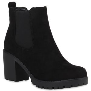 Mytrendshoe Damen Stiefeletten Chelsea Boots Profilsohle Blockabsatz 77276, Farbe: Schwarz Schwarz, Größe: 39