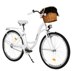 Milord Komfort Stadtfahrrad Fahrrad mit Weidenkorb Damenfahrrad, 26 Zoll, Weiß, 1-Gang