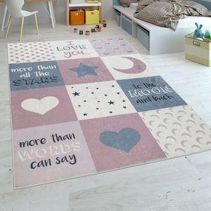 Kinderteppich Kinderzimmer Mädchen Waschbar Herzen Sterne Mond Spruch Rosa Grau, Grösse:120x160 cm