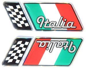 Italia 2er-Set (rechts / links) für Kühlergrill und Fußmatte 80 x 30 mm