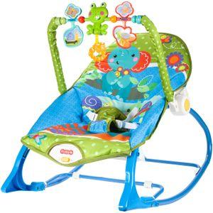 MalPlay Elefant Babywippe mit Vibration und Musik   Mit Spielbogen   Babywiege Babysitz von Geburt bis zu 18 kg   Schaukelsitz   Verstellbare Rückenlehne (Tiermotiv)