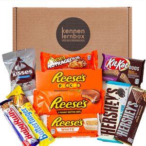 Schoko Box aus Amerika | Kennenlernbox mit 10 beliebten Schokolade aus den USA | Geschenkidee für Ostern und Geburtstage