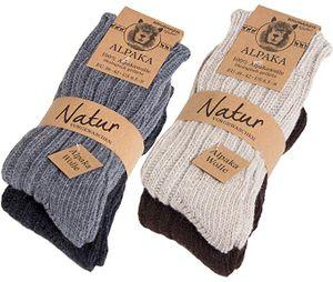 BRUBAKER 4 Paar Alpaka Socken 39-42  sehr dick flauschig und warm - reine Alpakawolle