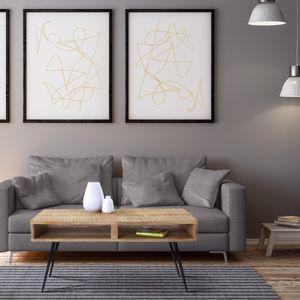 WOMO-DESIGN Moderner Couchtisch 100cm Natur Massivholz Mangoholz mit 2 Schubfächer und schwarzen Hairpin Legs aus Metall Retro-Look Wohnzimmertisch Sofatisch Beistelltisch Holztisch für Wohnzimmer