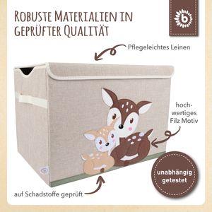 Bieco Aufbewahrungsbox mit Deckel | 65L faltbar | ca. 36x36x51cm | Spielzeugkiste mit Deckel | Aufbewahrungsbox Kinder | Kisten mit Deckel | Aufbewahrungsbox Groß | Wickeltisch Organizer | Reh Motiv