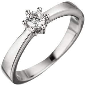 Solitär Ring Damenring weiße Zirkonia 925 Sterlingsilber Silberring Fingerring, Ringgröße:Innenumfang 54mm  Ø17.2mm