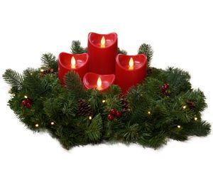 Künstlicher Adventskranz mit Lichterkette und 4 LED Kerzen | Batteriebetrieben | Sicher in der Anwendung | Tannenkranz mit Zapfen und Beeren