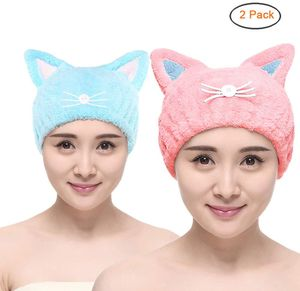 Verstellbar Mikrofaser Haar-Trocknen Kappe Haar-Trocknen Handtuch Ultra saugfähig Haare Turban Haartuch für Frauen Erwachsene oder Kinder Mädchen (2 Pack)