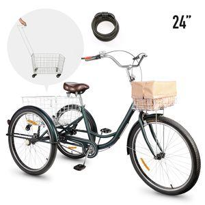 24 Zoll Räder Dreirad für Erwachsene Fahrrad 3-Rad-Dreirad + 2 Einkaufskorb