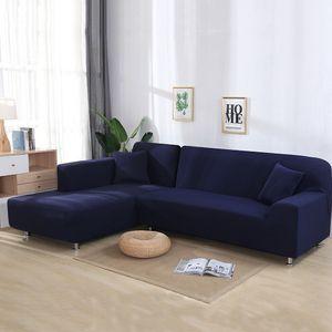 2 Stück Normale 3-Sitzer-Sofabezüge Stretch-Schonbezüge für Schnittsofa Geteiltes L-förmig Sofa,Blau