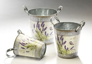 Pflanzentöpfe Set, 3 Lavendeltöpfe, Landhaus Pflanzgefäß Set mit Lavendelmotiv