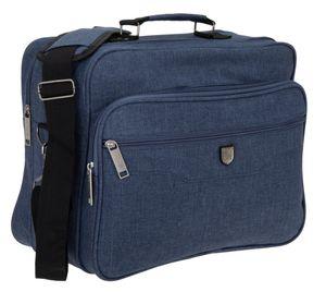 Schultertasche Tasche Herren A4 Flugumhänger Reisetasche Arbeitstasche Elephant Milano quer  1728 Blau + Etui