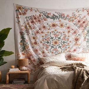 150*150cm Mandala Blumenmedaillon Wandteppich, Wandbehang Wandtuch Wandteppich Skizziert Blumenpflanze Boho Wandbehang, Böhmische Hippie Wandteppiche für Schlafzimmer Wohnzimmer Wohnheim Wohnkultur