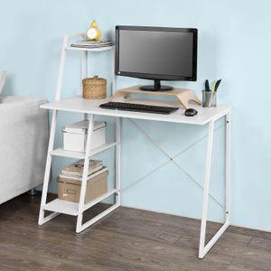 SoBuy® Schreibtisch, Computertisch, Arbeitstisch mit 3 Ablageflächen, weiß, FWT29-W