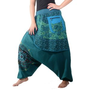 Kunst und Magie Bunte Ibiza Style Haremshose aus Baumwolle Goa Wellnesshose, Größe:XXL, Farbe:Petrol