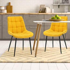 Modern 2er Set Esszimmerstühle Stuhl Samt Wohnzimmerstuhl Stoffkissen Akzentstühle, bis 160 kg (Gelb)