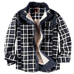 Herren Winddichte Fleece-Gefütterte Karierte Bedruckte Manteljacke Outwear Hemd Button-Down,Farbe: Grau,Größe:3XL