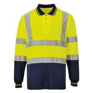 Portwest Herren Hi-Vis 2-Ton Langarm Polo Shirt RW5447 (XL) (Gelb/Marineblau)