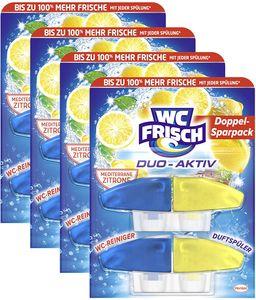 WC FRISCH Duo-Aktiv Mediterrane Zitrone 4er Pack Reiniger 4x2 Stück Nachfüllpack