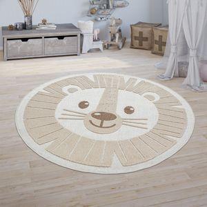 Kinderzimmer Outdoor Teppich Kinder Rund Spielteppich 3D Optik Löwe Beige, Größe:Ø 160 cm Rund