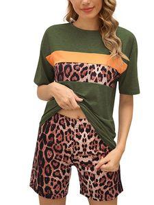 Sexydance Frauen Leopardenmuster Schlafanzüge Zweiteiliger Anzug Pyjamas Set Homewear,Farbe:Grün,Größe:S