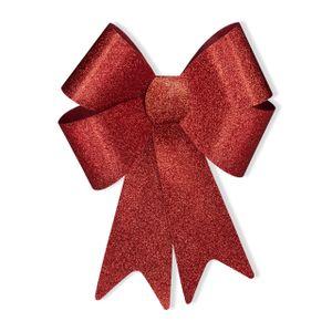 relaxdays 1 x XL Riesenschleife rot, Geschenkschleife Auto, Glitzer Schleife, Dekoschleife