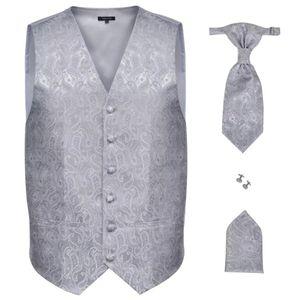 vidaXL Herren Paisley-Hochzeitswesten-Set Größe 50 Silber