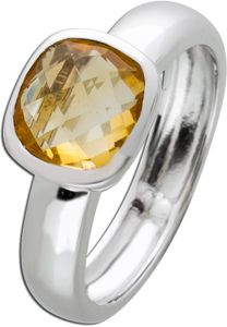 Silberring Citrin Ring Silber 925 Edelstein gelb Edelsteinschmuck 17