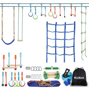 Klokick Ninja Parcours + Slackline, 15m Hänge-Hindernisparcours für die ganze Familie + 12 Stk. Hindernisse