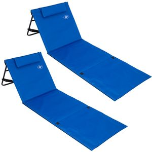Deuba 2x Strandmatte Gepolstert Kopfkissen Faltbar Verstellbare Rückenlehne Staufach Badematte Isomatte Strandtuch Blau