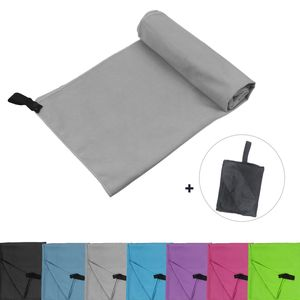 Glamexx24 Mikrofaser Handtücher mit Tasche,100x200cm,Grau,90407a3