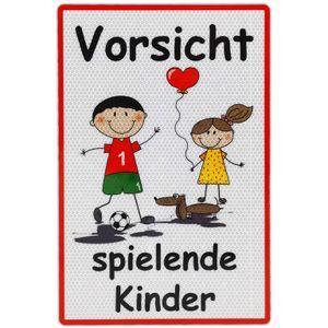 UvV Warnschild Vorsicht spielende Kinder 60 x 45 cm reflektierend - hochwertiges Alu-Dibond Schild - Bedruckt mit reflektierender Folie - Gute Sichtbarkeit auch bei Dunkelheit (weiß-groß XXL)