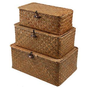 Rattankorb Aufbewahrungskorb aus Seegras mit Deckel Natürliches Material 3 Stück (Groß + Mittel + Klein)